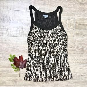 Ann Taylor Herringbone Leaf Pattern Tank Top